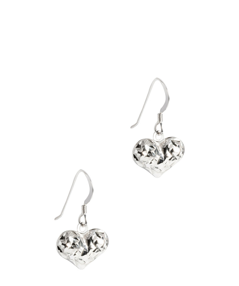 Gift Packaged 'Muses' Sterling Silver Detailed Heart Drop Earrings
