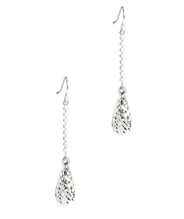 'Hemera' Sterling Silver Diamond Cut Teardrop Earrings