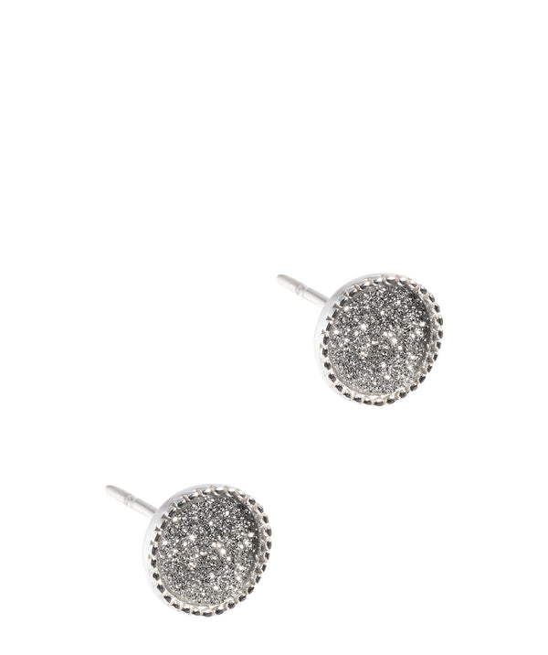 Gift Packaged 'Alya' Sterling Silver Stardust Disc Stud Earrings