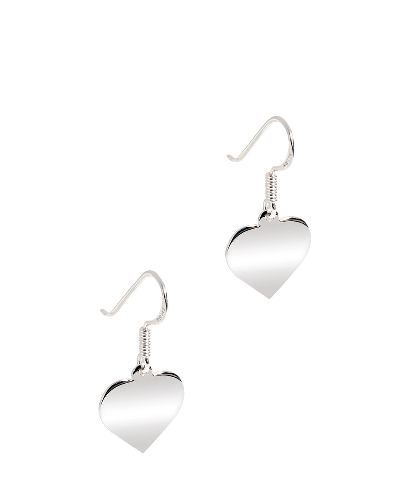 'Ettie' Sterling Silver Polished Heart Drop Earrings