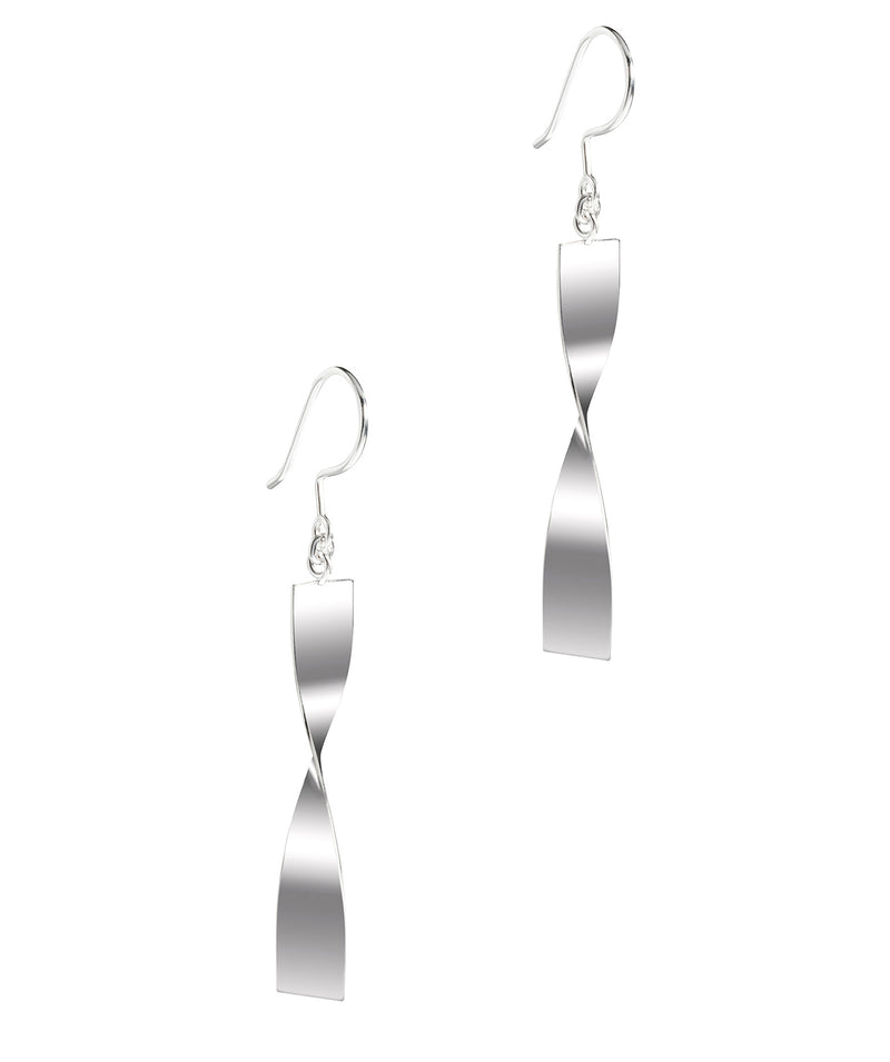 Gift Packaged 'Alix' Sterling Silver Twisted Bar Drop Earrings