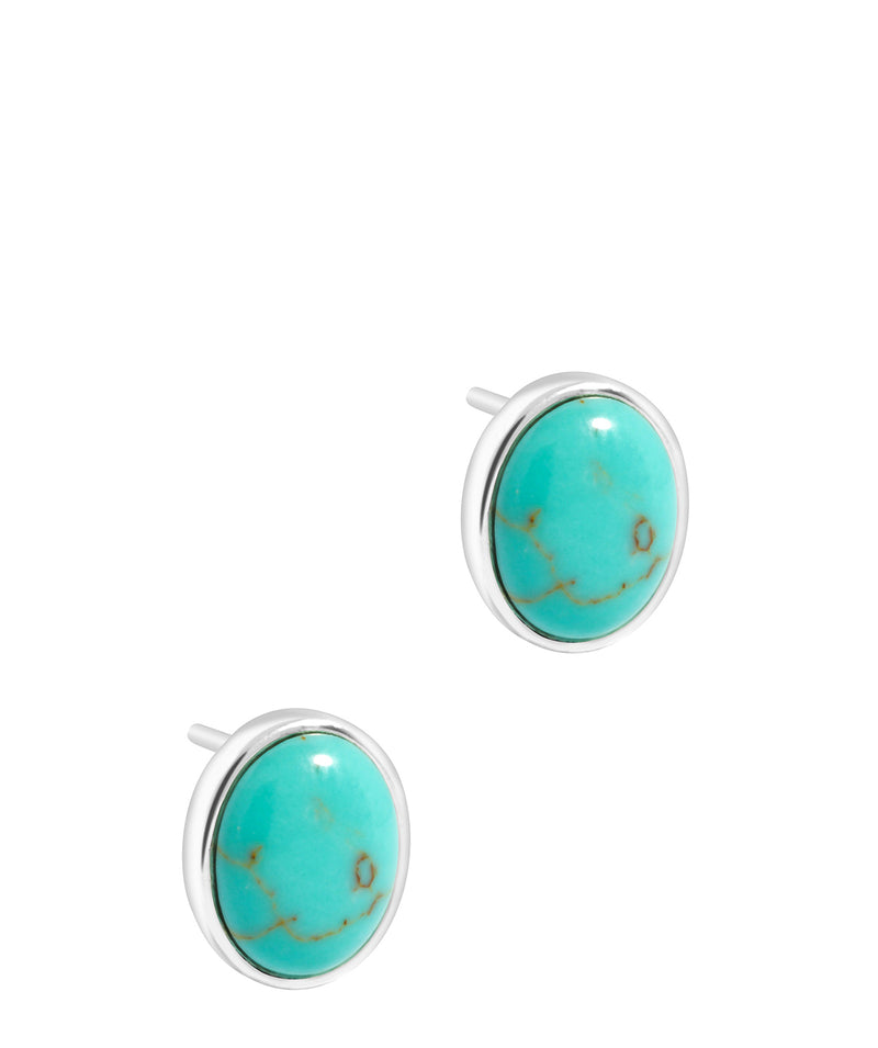 'Taygete' Sterling Silver and Turquoise Gemstone Oval Stud Earrings image 1