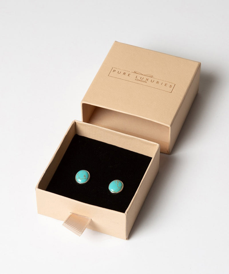 'Taygete' Sterling Silver and Turquoise Gemstone Oval Stud Earrings image 3