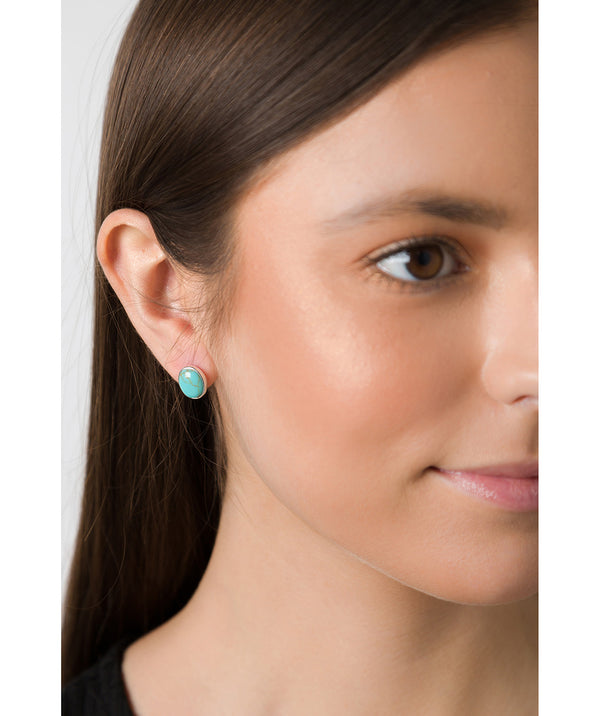 'Taygete' Sterling Silver and Turquoise Gemstone Oval Stud Earrings image 2