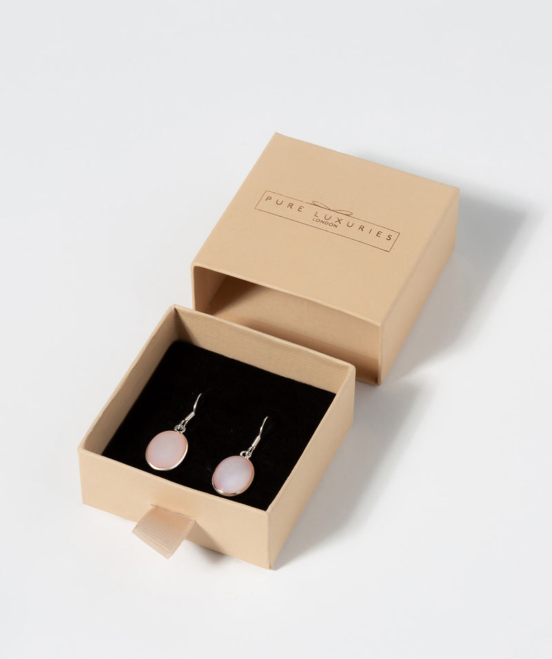 'Mia' Sterling Siver with Oval Pink Mother Of Pearl Drop Earrings