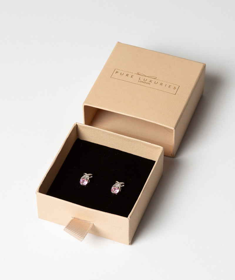 'Tyche' Sterling Silver and Pink Cubic Zirconia Kiss Stud Earrings image 3