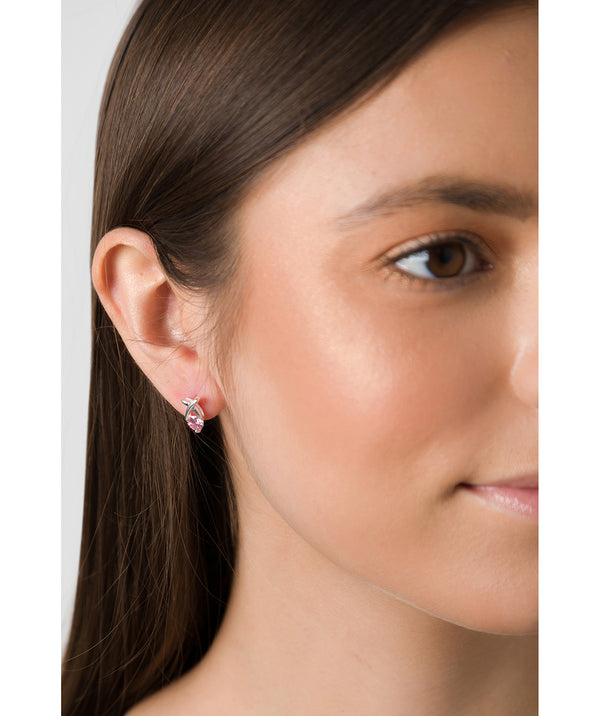 'Tyche' Sterling Silver and Pink Cubic Zirconia Kiss Stud Earrings Pure Luxuries London