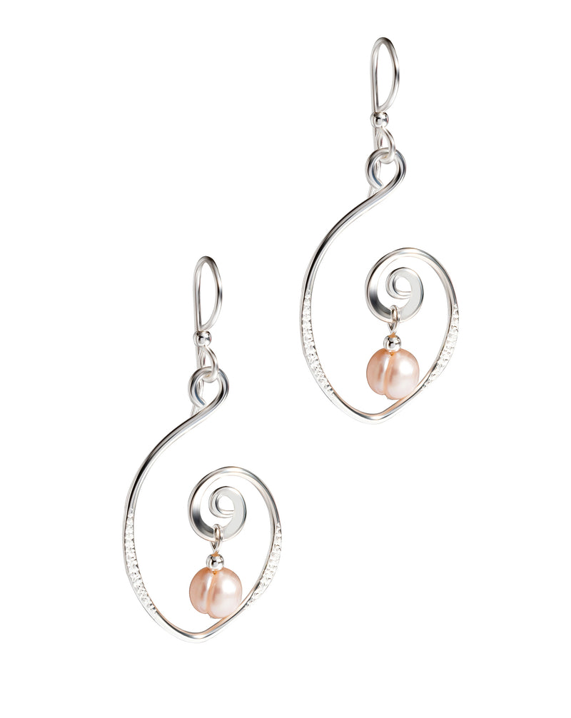 'Charlotte' Sterling Silver and Pearl Pear Shaped Spiral Drop Earrings