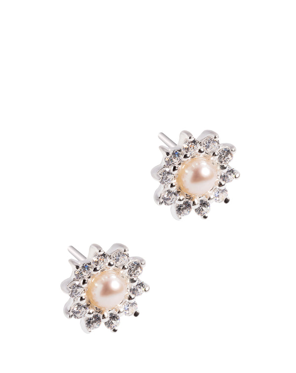Gift Packaged 'Dubois' Sterling Silver & Cubic Zirconia Cluster and White Pearl Stud Earrings