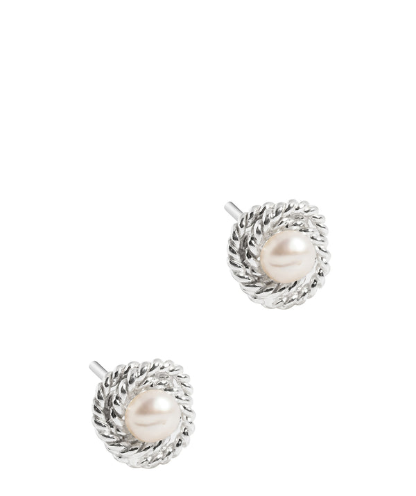 Gift Packaged 'Kotys' Sterling Silver Textured Knot Pearl Stud Earrings