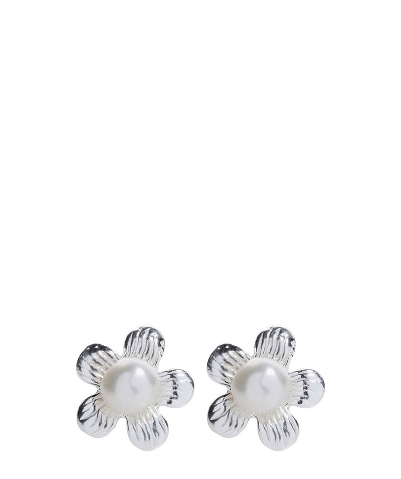 'Christelle' Sterling Silver Daisy & Pearl Earrings image 1