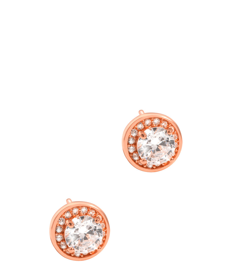 'Erinnyes' Rose Gold Plated Sterling Silver & CZ Stud Earrings image 1