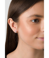 'Erinnyes' Rose Gold Plated Sterling Silver & CZ Stud Earrings image 2