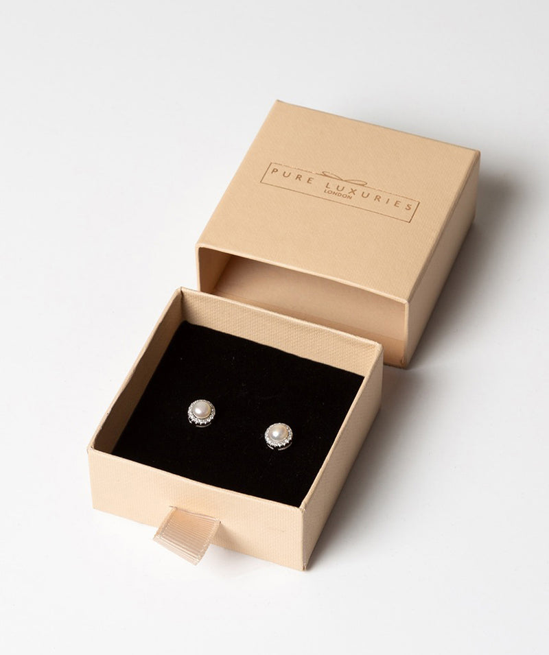 'Hecate' Rhodium Plated Sterling Silver Pearl & CZ Stud Earrings Pure Luxuries London