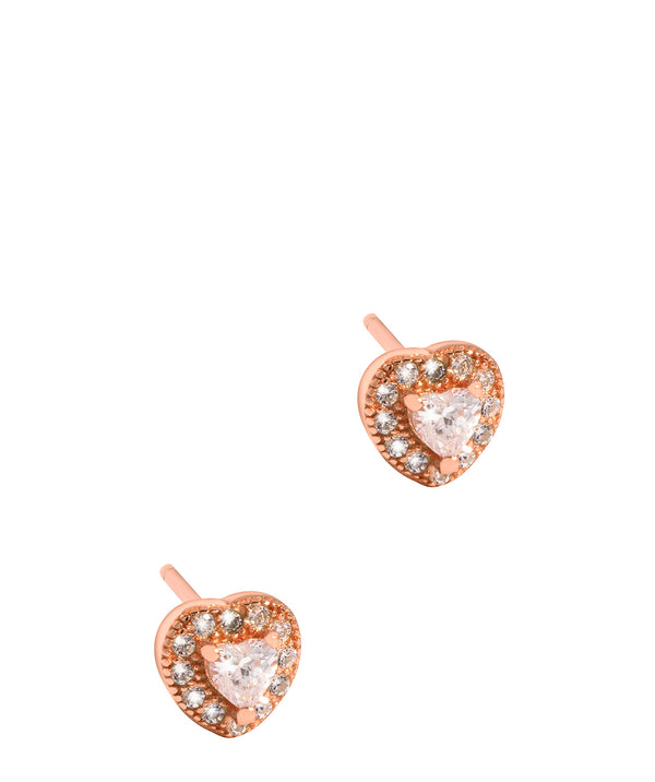 'Urania' Rose Gold Plated Sterling Silver and Cubic Zirconia Heart Stud Earrings image 1