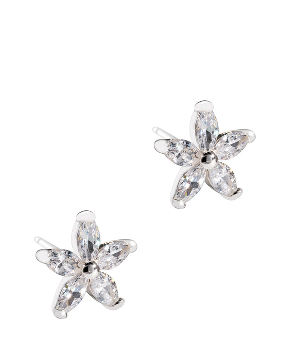 Gift Packaged 'Amaryllis' Sterling Silver and Cubic Zirconia Flower Earrings