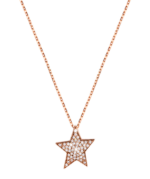 'Saros' Rose Gold Plated Sterling Silver Star Adjustable Chain Necklace
