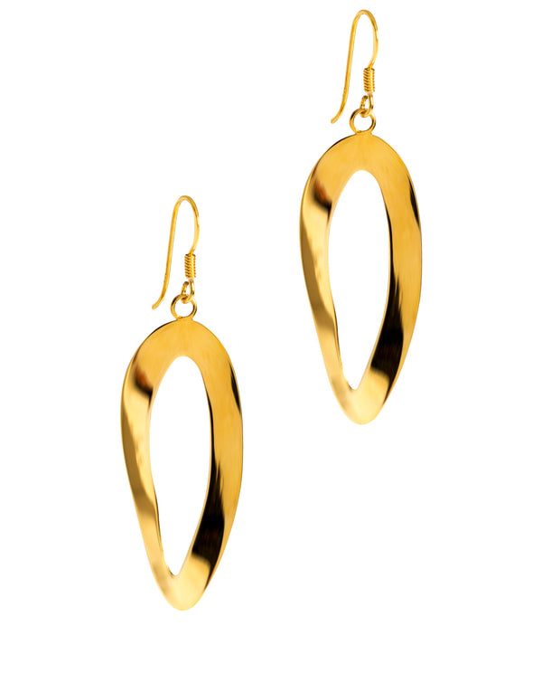 Gift Packaged 'Katie' Yellow Gold Plated Sterling Silver Oval Half Twist Drop Earrings