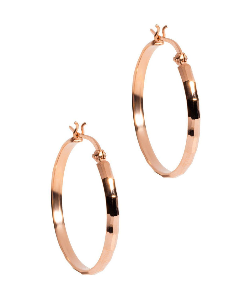 Gift Packaged 'Bertha' Rose Gold Plated Sterling Silver Diamond Cut Creole Hoop Earrings