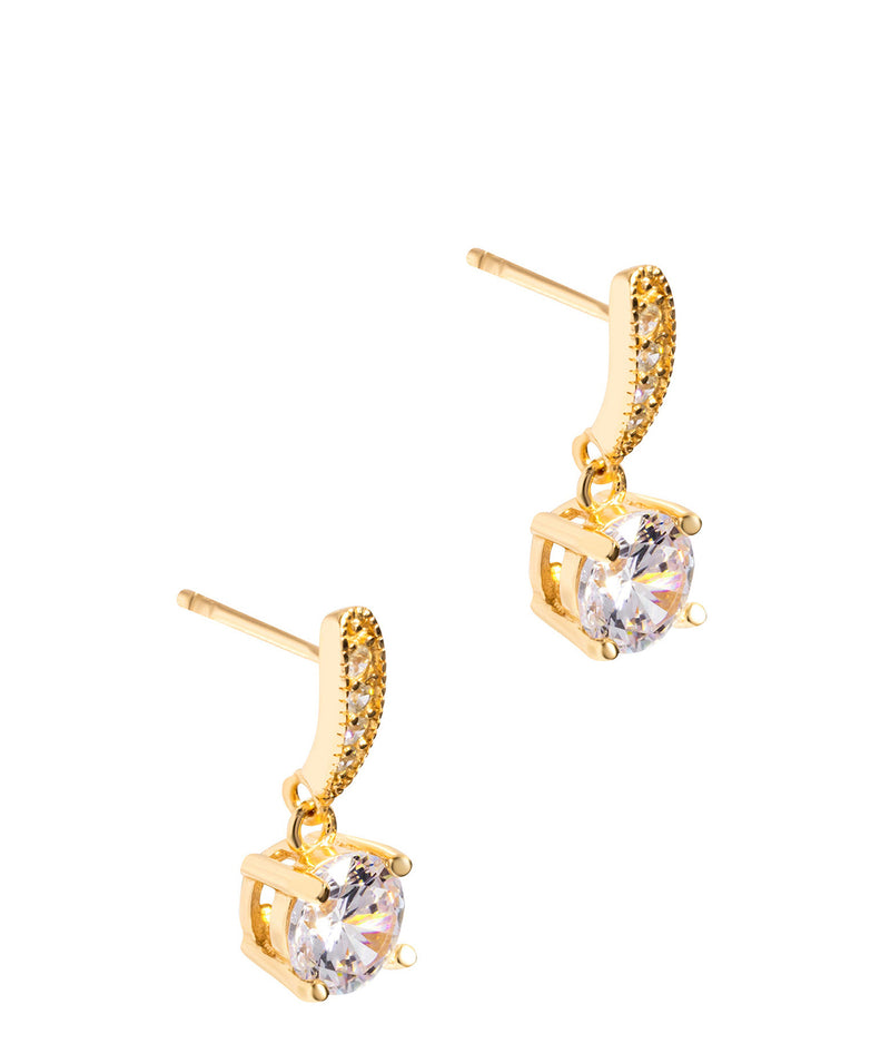 'Ada' Yellow Gold Plated Sterling Silver and Cubic Zirconia Drop Earrings