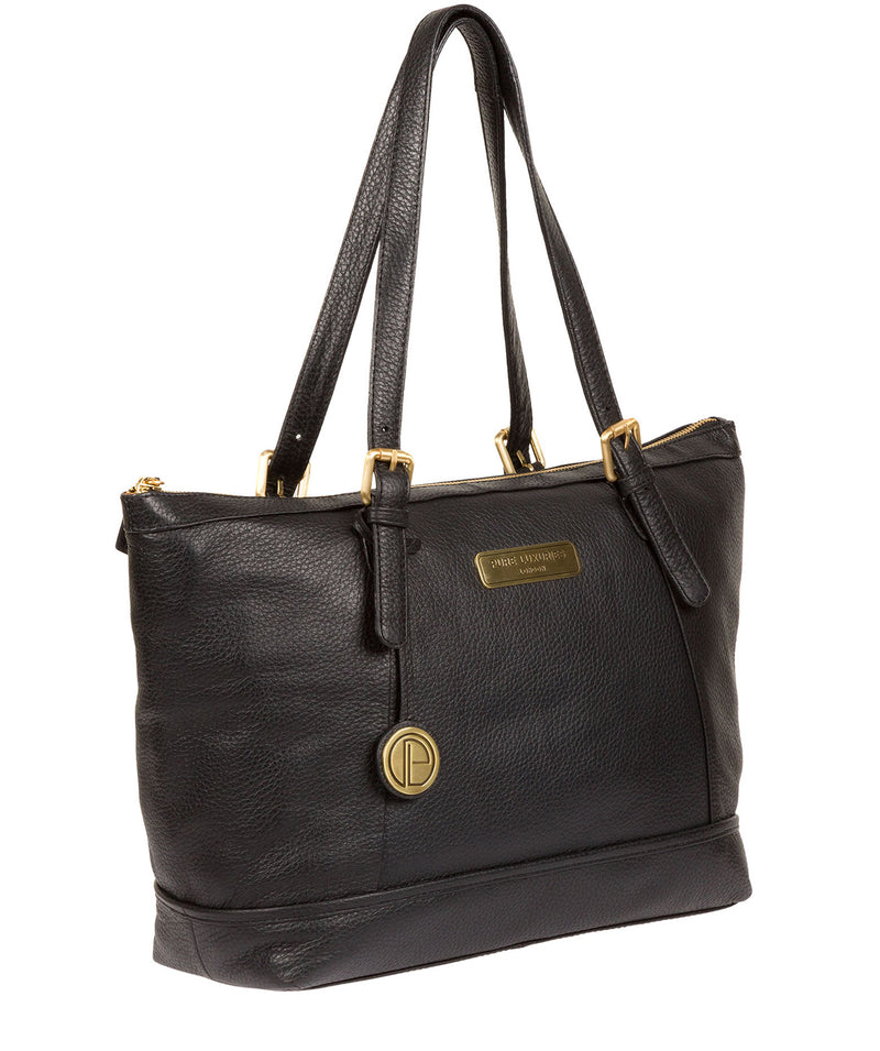 'Truro' Black Quality Leather Tote Bag image 3
