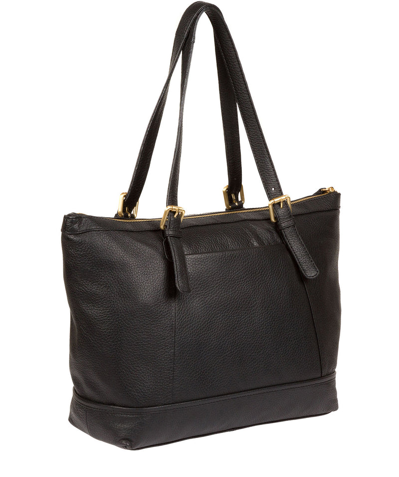 'Truro' Black Quality Leather Tote Bag image 7