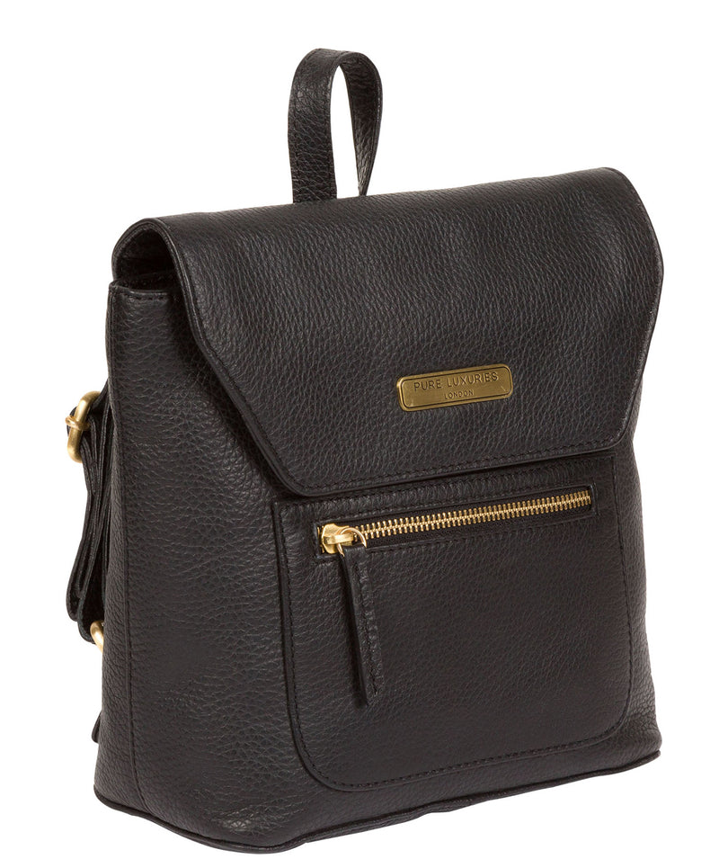 'Yeadon' Black Leather Backpack image 3