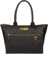 'Yeovil' Black Leather Tote Bag image 1