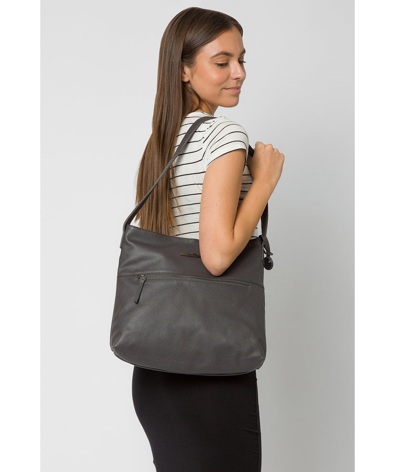 'Barbara' Slate Leather Shoulder Bag image 2