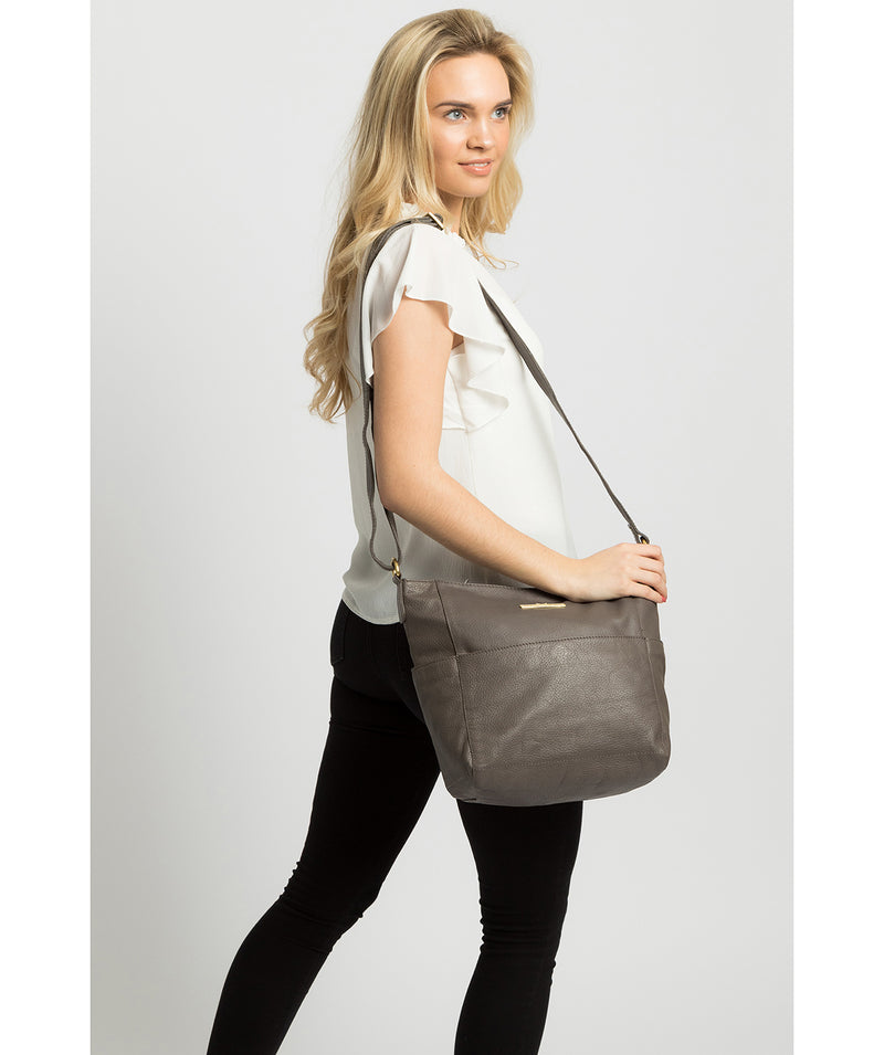 'Dorothea' Grey Leather Shoulder Bag image 2