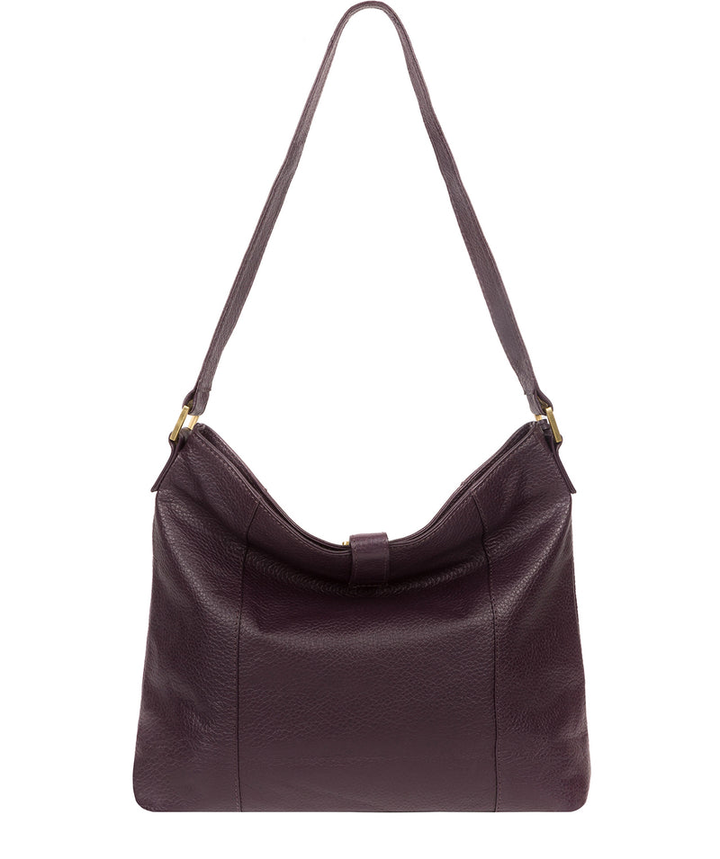 'Elaine' Plum Leather Shoulder Bag image 3