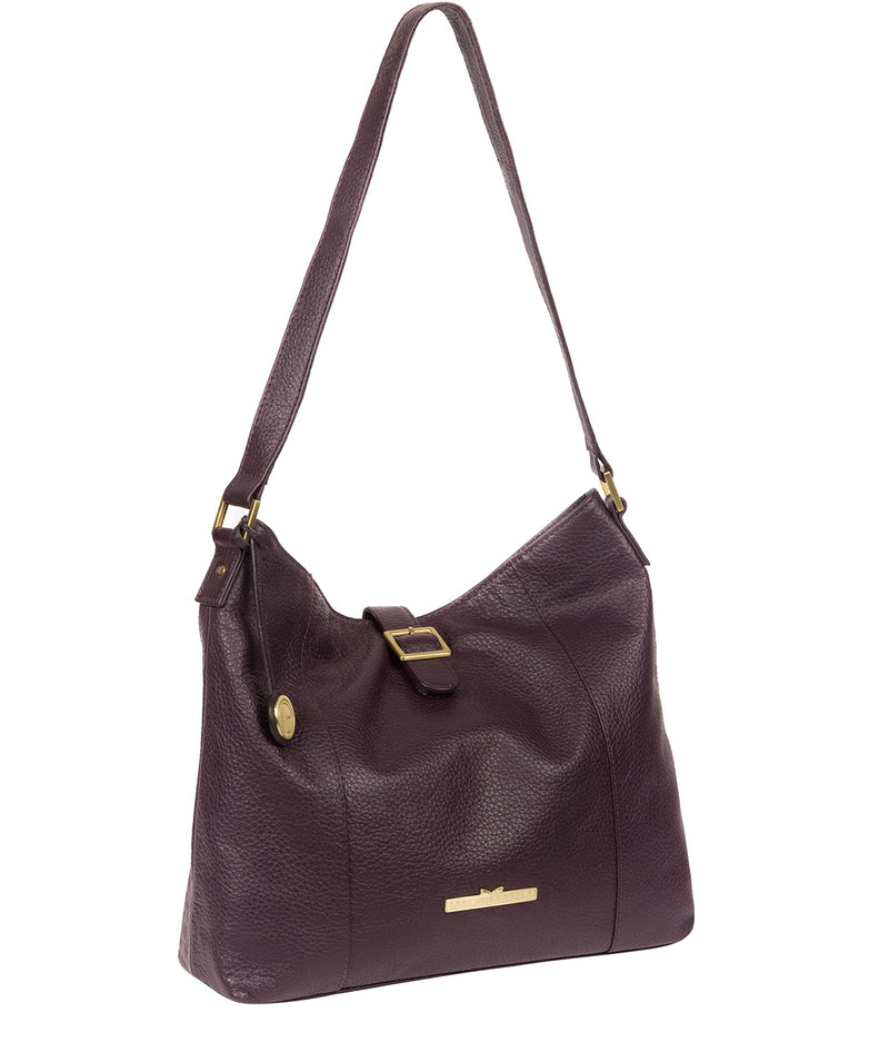 'Elaine' Plum Leather Shoulder Bag image 5
