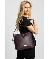 'Elaine' Plum Leather Shoulder Bag image 2