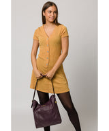 'Rachael' Plum Leather Shoulder Bag image 2