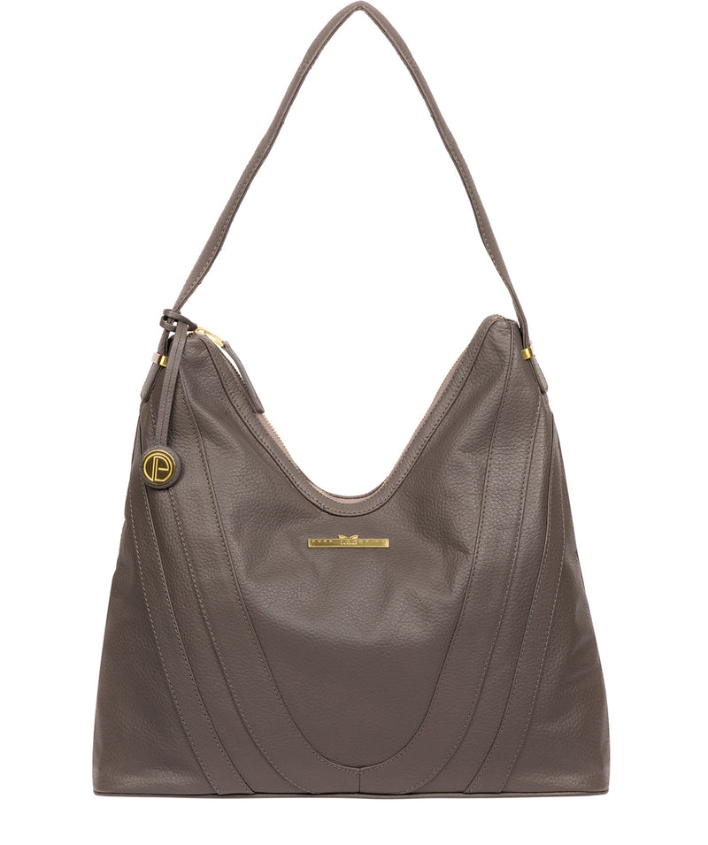 'Claire' Grey Leather Shoulder Bag