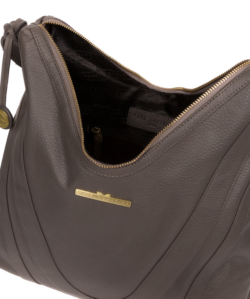 'Claire' Grey Leather Shoulder Bag image 4