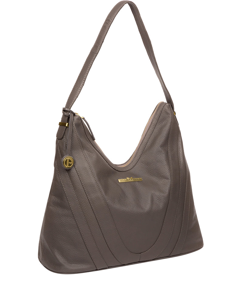 'Claire' Grey Leather Shoulder Bag image 5