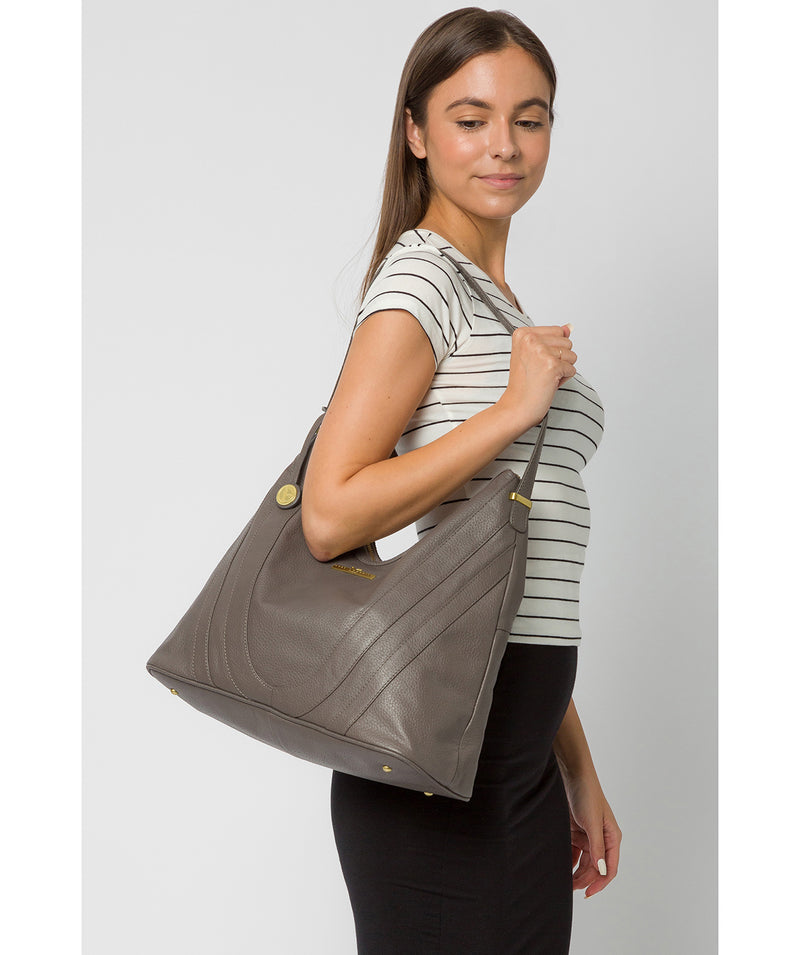 'Claire' Grey Leather Shoulder Bag image 2