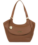 'Denisa' Tan Leather Tote Bag