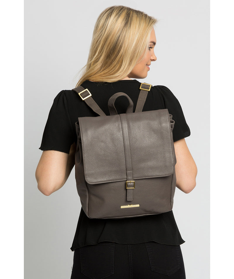 'Maryam' Grey Leather Backpack image 2
