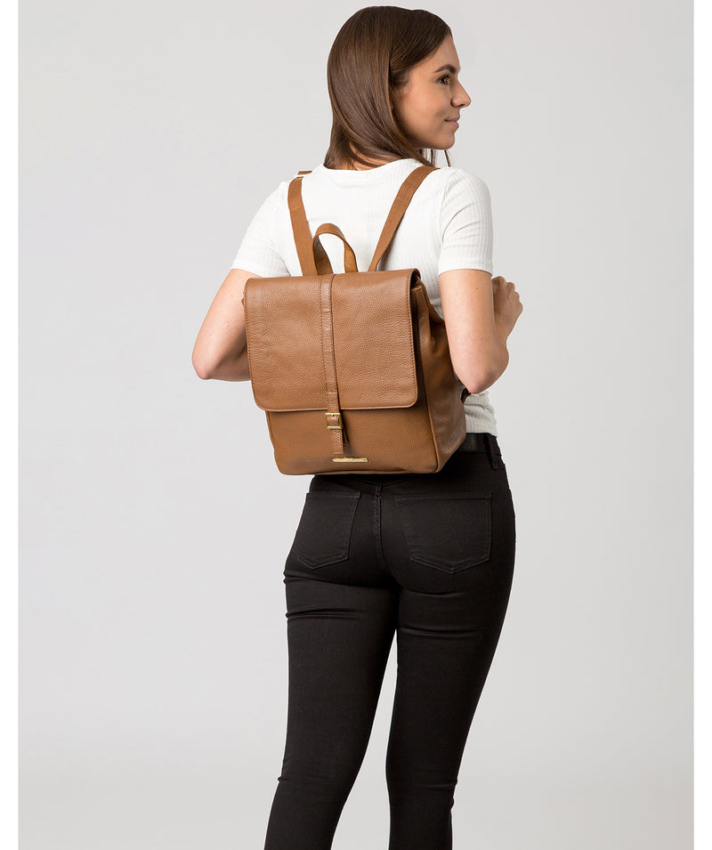 'Maryam' Tan Leather Backpack image 2
