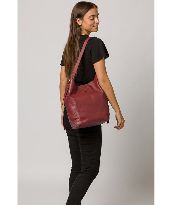 'Hoxton' Burgundy Leather Shoulder Bag image 2