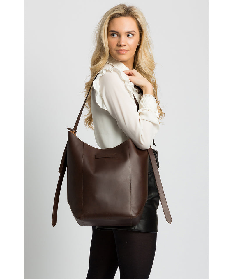 'Hoxton' Chocolate Leather Shoulder Bag image 2