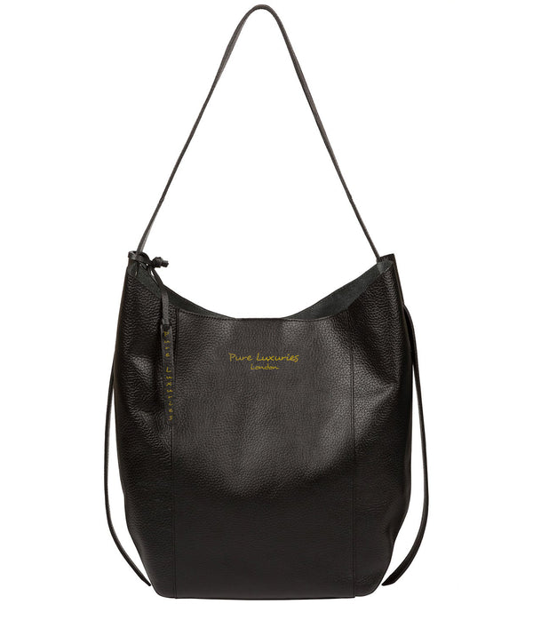 'Hoxton' Jet Black Leather Shoulder Bag image 1