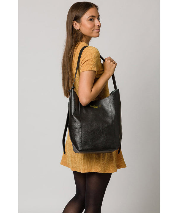 'Hoxton' Jet Black Leather Shoulder Bag image 2