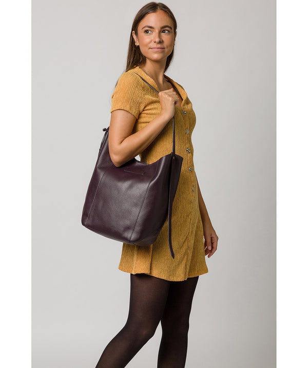 'Hoxton' Plum Leather Shoulder Bag image 2