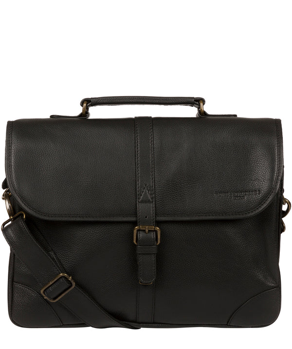 'Bond' Black Leather Work Bag Pure Luxuries London
