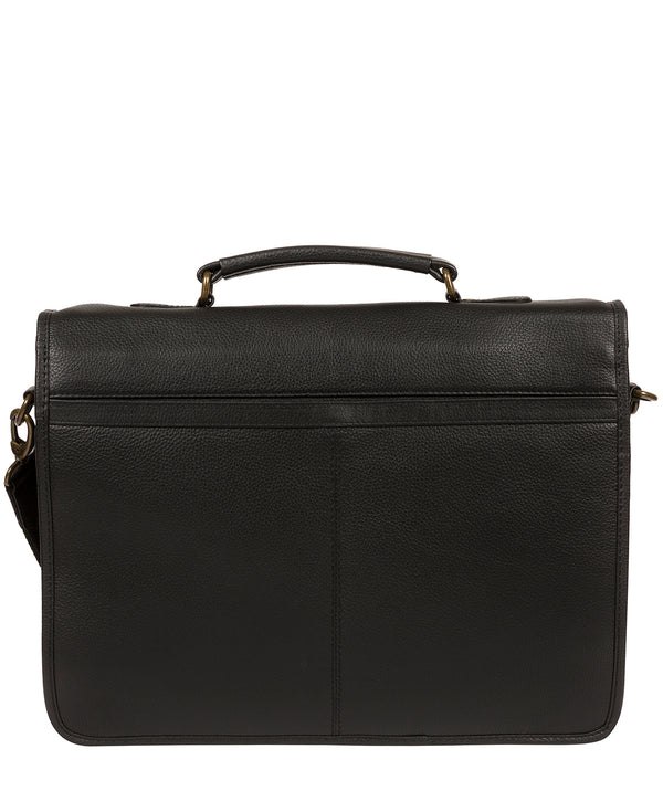 'Bank' Black Leather Work Bag Pure Luxuries London