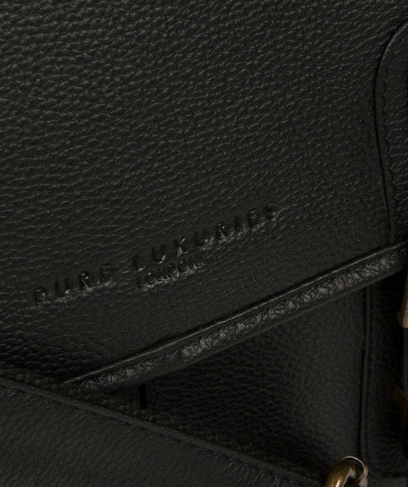 'Bank' Black Leather Work Bag image 6