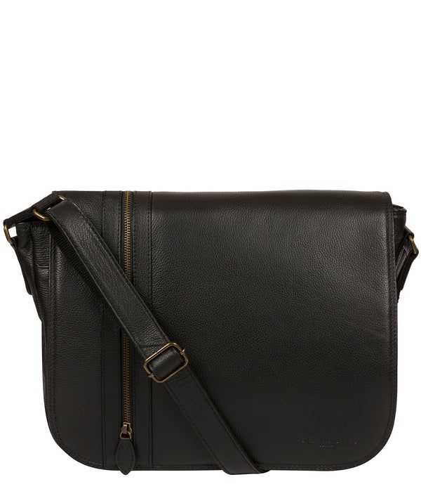 'Jefferson' Black Leather Messenger Bag image 1